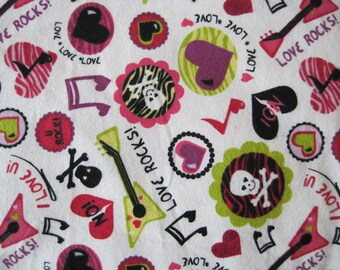Love Rocks Flannel Cotton Fabric 1yard