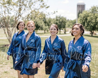 SATIN BRIDESMAID ROBES - Navy Satin Robes - Getting Ready Robe - Monogrammed Robe - Personalized Robe - Bridesmaids Robe - Dressing Gown