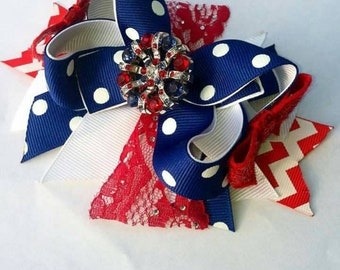 Fourth of July bow - 4th of July boutique bow - stacked boutique bow - Americana bow - Independence day bow - red white blur
