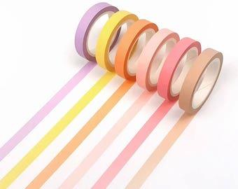 Set of 6 Skinny Washi Tape - Pastel P