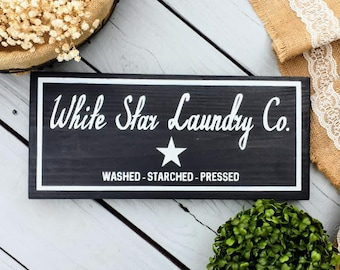 7 x 16 Laundry Sign - Black Laundry Room Sign - Fixerupper Sign - Laundry Room Sign - Wash Dry Fold Sign - Vintage Style Laundry Sign