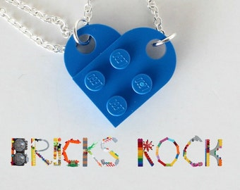 Blue Heart Necklace - Jewelry made with LEGO® pieces