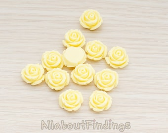 CBC141-01-BU // Butter Colored Curved Petal Rose Flower Flat Back Cabochon, 6 Pc