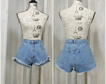 "80s denim shorts 34"" waist / vintage denim cutoffs / high waisted frayed jean cut off shorts / size 12 14"