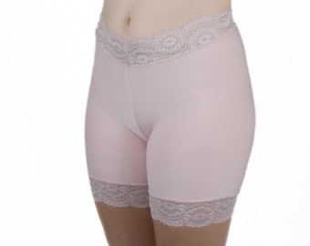 Lace Biker Shorts Anti Chafing Shorts Blush Slip Underwear Rose Pajamas Light Pink Tap Pants Bamboo Skimmies Lace Shorties No Chafe Panties