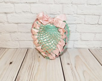 Vintage Crocheted Heart Pillow With Satin Bow Cream Blue Pink Romantic Victorian Decor