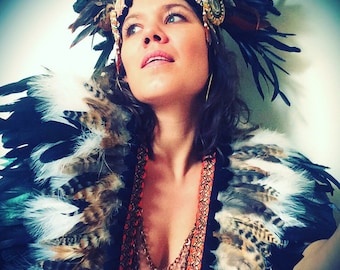 Natural and black tribal feather collar, Burning Man style feather capelet, feather and chain breastplate, festival clothing, coachella