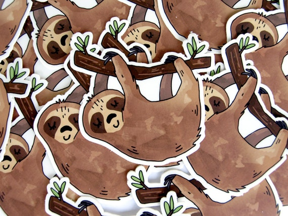 Sleeping sloth sticker vinyl stickers sloth gift laptop
