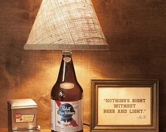 Pabst Blue Ribbon, PBR, Bottle Beer, Lamp, Light, Handmade, Gift