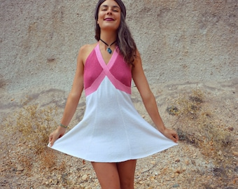 Vintage 1960s Pink and Cream Mini Tennis Halter Dress