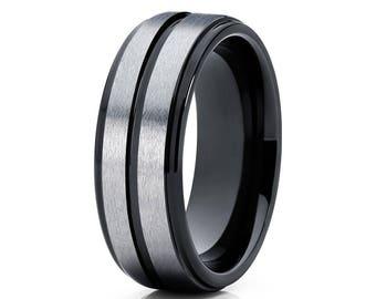 Grey Tungsten Wedding Band Black Tungsten Ring Men & Women Tungsten Carbide Ring Anniversary Men's Ring Bush