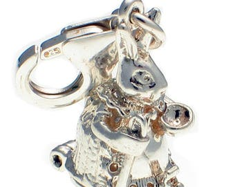 Welded Bliss Sterling 925 Silver Clip Charm, Mrs Rabbit and Bunny Opening WBC1384