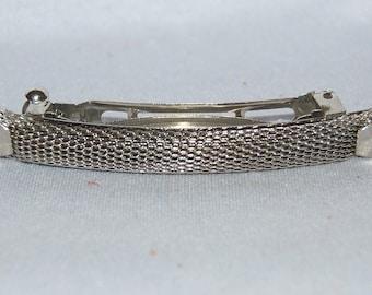 Barrette Hair Clip, Silver Metal Barrette, Vintage old jewelry