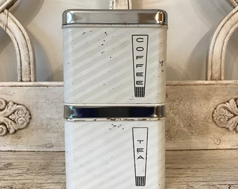 Vintage Lincoln Beautyware  White Canister Set - Coffee and Tea