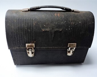 Vintage V-Dome Workingman's (Blues) King Seeley Thermos Lunch Box