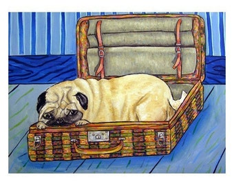 pug art - Pug in a Suitcase Dog Art Print - pug gifts