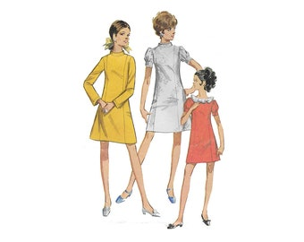 Simplicity 7730, 1960s Junior Petite Dress Sewing Pattern, Size 11, Misses Petite Short/Long Sleeve A-Line Dress Pattern PREVIOUSLY CUT