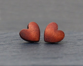 Heart - Studs Wooden / love / Bridesmaid