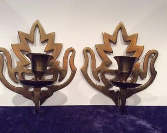Vintage pair of Brass Candle Holders , Wall Sconce, solid brass taper candle holder, Ornate brass