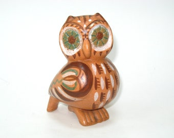 Gill Pinker France Pottery Owl Figurine - Vintage Signed Handcrafted Art Pottery