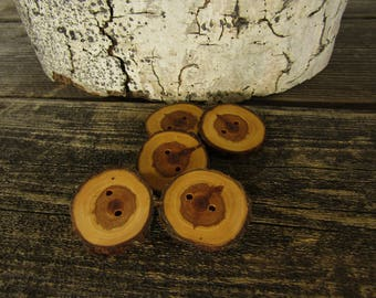 5 wooden buttons- Juniper, handmade buttons (2010)