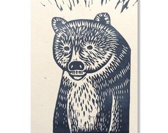 "Original ""Bear"" greeting card / Hand-printed ""Bear"" greeting card"
