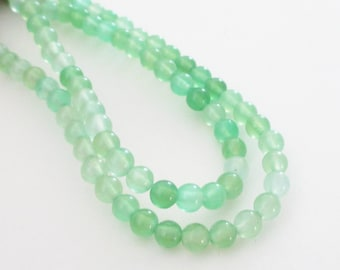 "Prehnite Beads - Green Prehnite Round Beads - Small Smooth Natural Gemstone Beads - 4mm - 16"" Strand - Center Drilled - DIY Jewelry Beading."