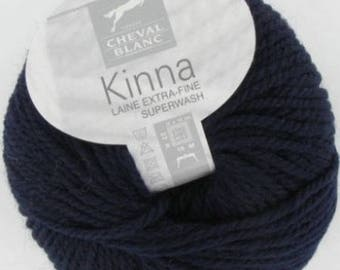 100% wool yarn to knit blue KINNA Navy No. 293 white horse