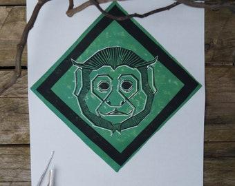 Monkey original Linocut capuchin poster linocut art print illustration graphic