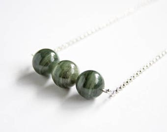 Green Line Quartz Necklace Sterling Silver Striped Moss Green Natural Stone Bar Necklace Argentium Chain Minimalist Jewelry Three #17568
