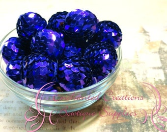 22mm AB Purple Sequin Beads Qty 8