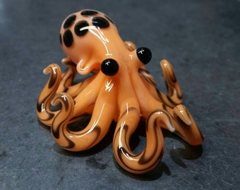Small Glass Octopus Necklace Pendant Orange Mango