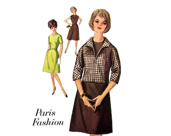 60s Dress & Jacket Pattern Simplicity 5188 Kimono Sleeve Zipper Front Misses Bust 36 Vintage Sewing Pattern Women