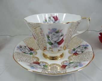 1960s Queen Anne English Bone China Red and White Roses English Teacup and Saucer