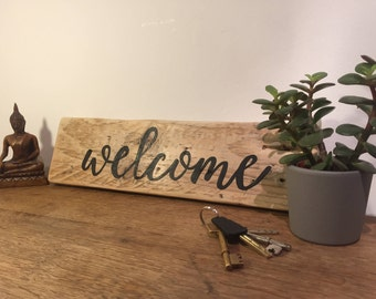 Welcome sign, Welcome, Rustic home decor, Wood signs, Welcome wood sign, Wall art, Home decor, reclaimed wood sign, Hallway, Living room