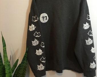 Neko Screenprinted Long Sleeved Sweater Large Unisex