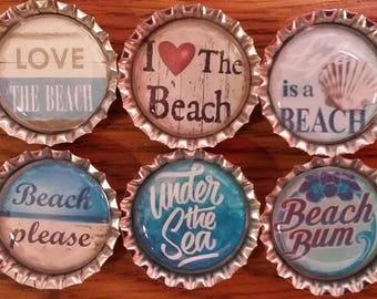 Six Lovin' The Beach Silver Bottle Caps Magnets