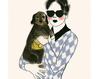 "Dachshund art print  - sausage dog art - Doxie dog art print - Fashionistas 4"" X 6"" print - 4 for 3 SALE"