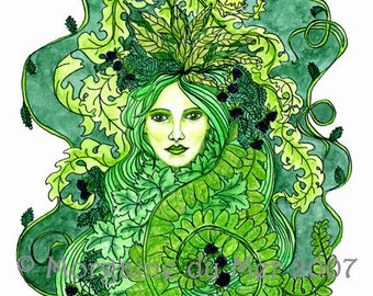 GreenWoman Earth Mother Fae Goddess Print Pagan Fantasy Wall Art Nature Green Lady Mythology Altar Decor Pen and Ink Watercolor Illustration