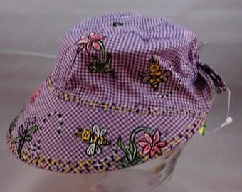 "Purple Gingham Infant ""Hand Painted"" Bee & Flower Bonnet"