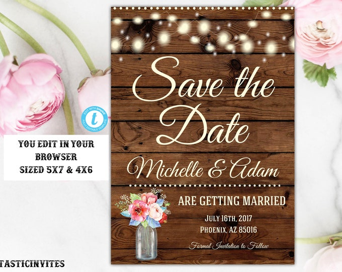 Rustic Boho Spring Floral Babies Breath Save the Date Template, Editable, Printable, Instant Download, String Light, Wood, DIY Save the Date
