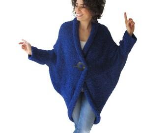Chunky Blue Casual Cardigan