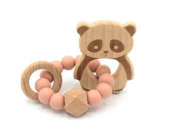 Pink panda rattle panda rattle peachy, honey
