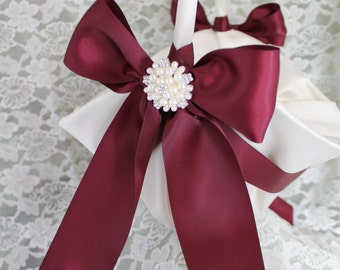 Ivory Satin Flower Girl Basket  Burgundy Satin Ribbon and Pearls and Rhinestone Accent-Large Basket-CUSTOM COLORS