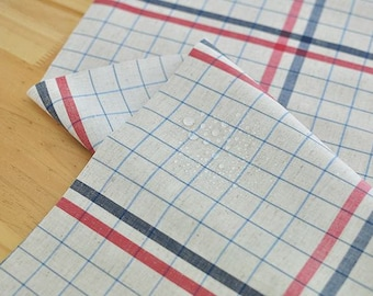 Laminated Linen Fabric - Red Blue Plaid - By the Yard 94296