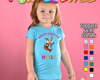 Hoppy Easter T-Shirt - Girls - Toddler - Personalized with Name