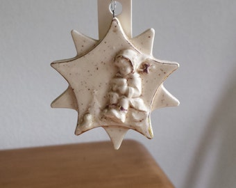 Ceramic Flat Ornament - Hummel Firgurine-Glazed in Eggnog-trim with fired gold(#536B)