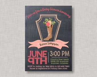 Western Baby Shower Invitation, Cowgirl Baby Shower Invitation, Cowgirl Invitation, Western Invitation, Cowgirl Baby Shower, Chalkboard