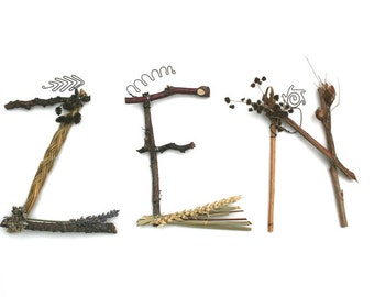 3 letter word in natural twig letters