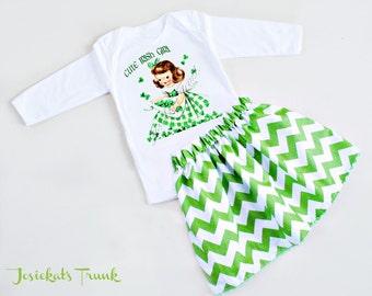 Cute Irish Girl Skirt Set Custom St. Patrick Retro Green Chevron 4T 4 5 6 6X 7 8 10 12